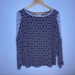 Loft Black and White Pattern Long Sleeve Top Med